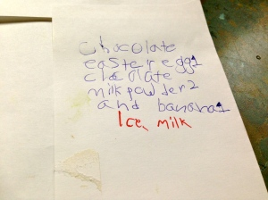 Lacking punctuation - it's ice, milk not ice milk