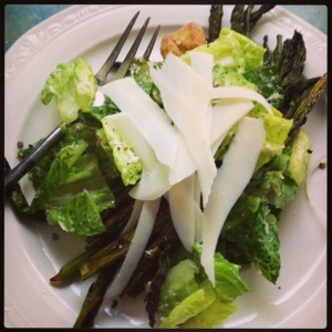 Caesar salad with shaved Romano and grilled asparagus