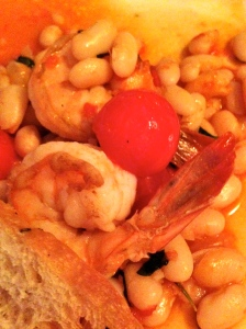 shrimp, white beans, tomatoes